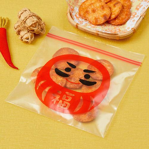 """""""心ばかり""""福だるまジッパーバッグ(8枚入)240個(1c/s)(0212501)食品保存袋"""