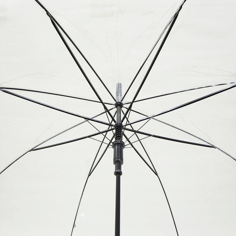 ビニール傘 60cm 透明 黒骨 ジャンプ式 1本セット