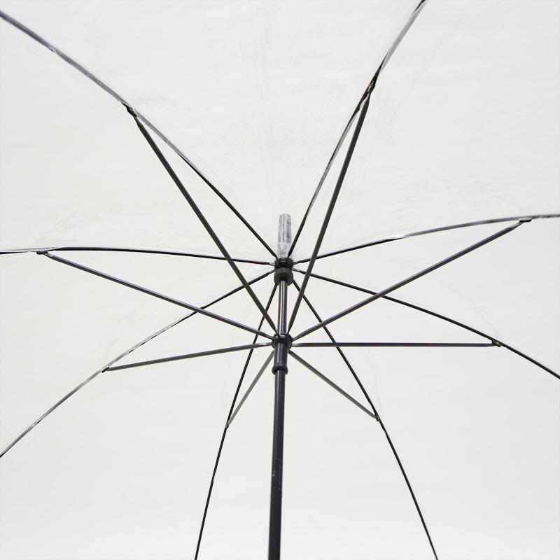 ビニール傘50cm 透明 黒骨 手開き式 60本セット(1ケース)