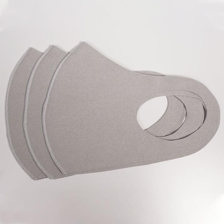 【即納・メール便投函】 吸湿発熱あったかフリースマスク 3枚入 グレー 5セット 合計15枚