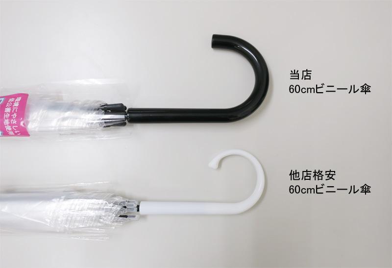 ビニール傘 60cm 透明 黒骨 手開き式 60本セット(1ケース)