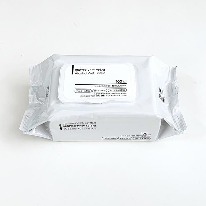 【即納】除菌ウェットティッシュ アルコール フタ付き 100枚入 6個セット(0.5c/s)