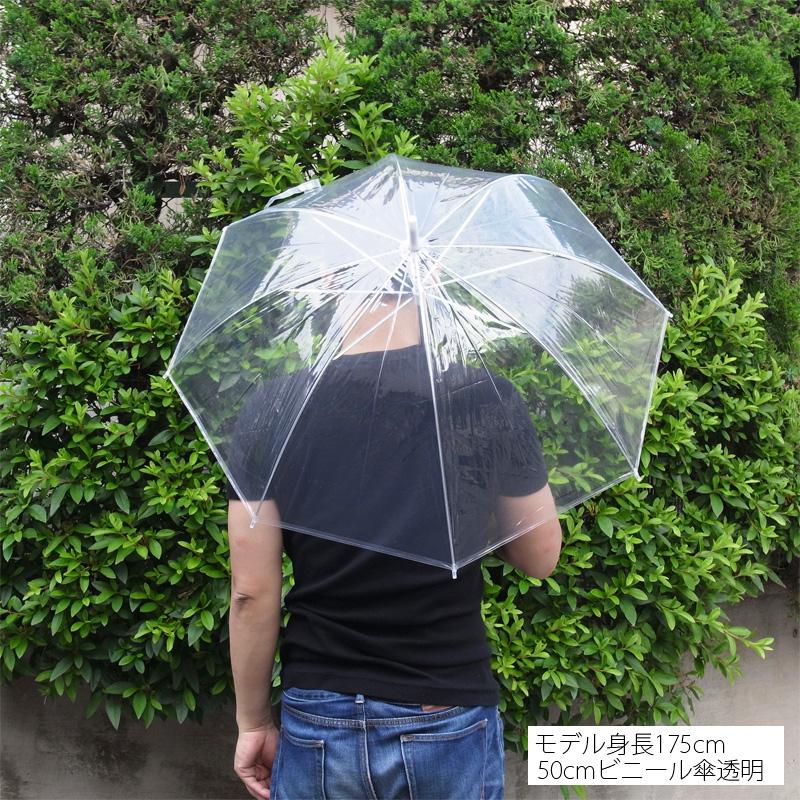 ビニール傘50cm 透明 黒骨 手開き式 60本セット(1c/s)#501