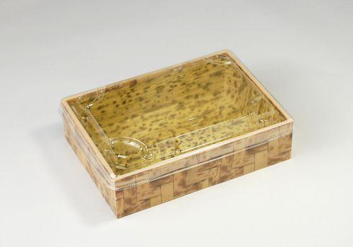 竹皮編プラ折箱POAB-173(透明蓋付)