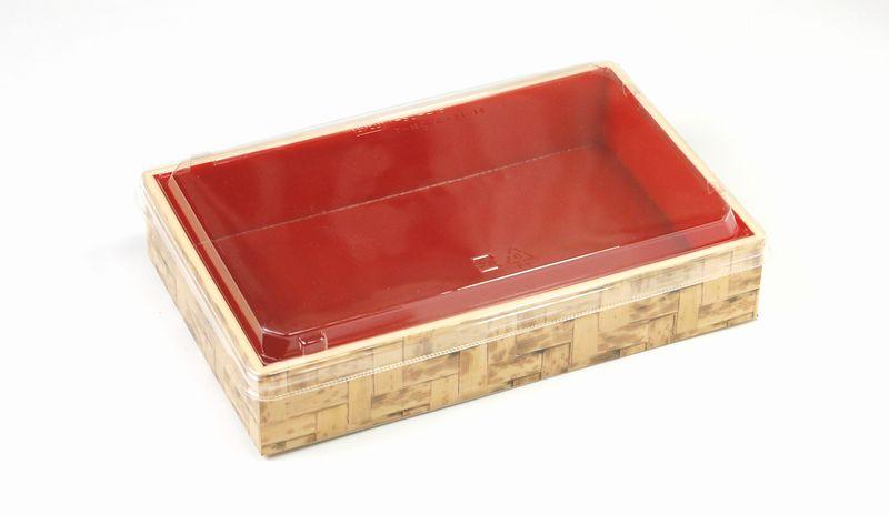 竹皮編プラ折箱POAB-206 透明ふた・中仕切りセット