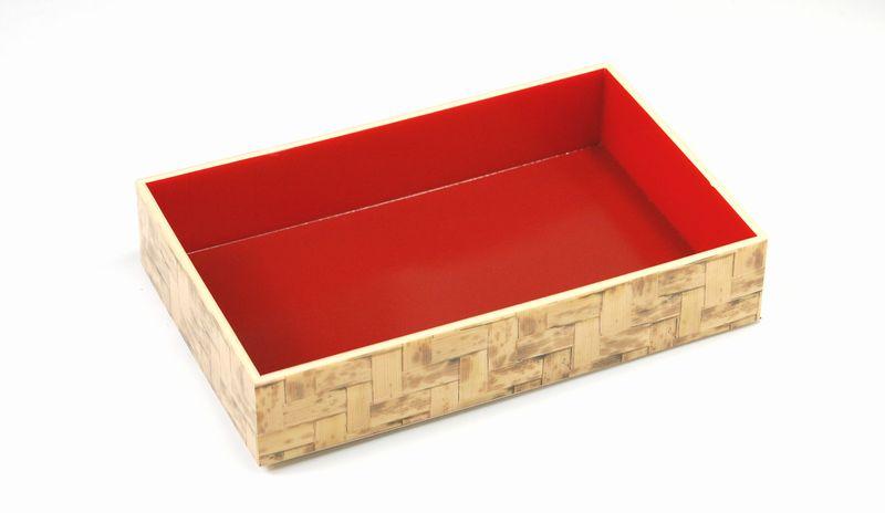 【透明蓋・中仕切り付】竹皮編プラ折箱POAB-206 中仕切りセット