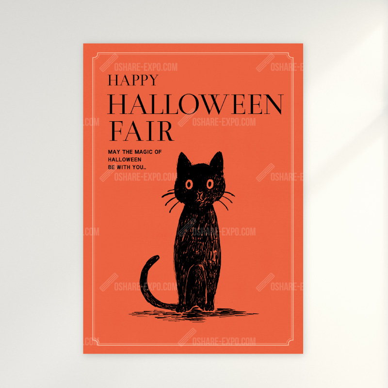 かわいい猫とフクロウのイラスト ハロウィンフェアのポップ ポスター Pop ポスター関連 Pop ポスター Oshare Expo おしゃれ什器 カッティング シール 販促pop おしゃれexpo