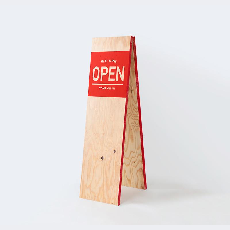 「OPEN」デザイン A型看板 スリム