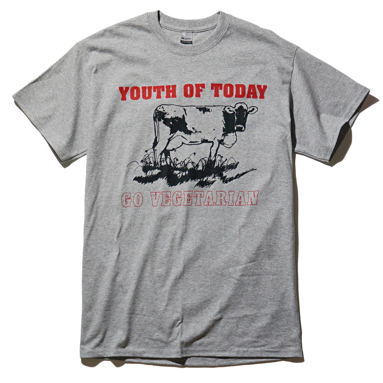 Youth of Today Tシャツ Go Vegetarian-Grey