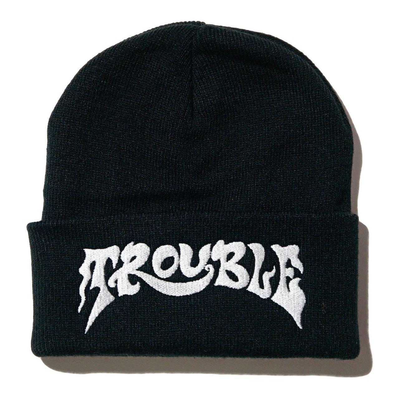 TROUBLE バンド ビーニー ニットキャップ Logo