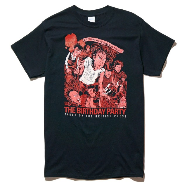 THE BIRTHDAY PARTY Tシャツ Brian Walsby British Press-Black