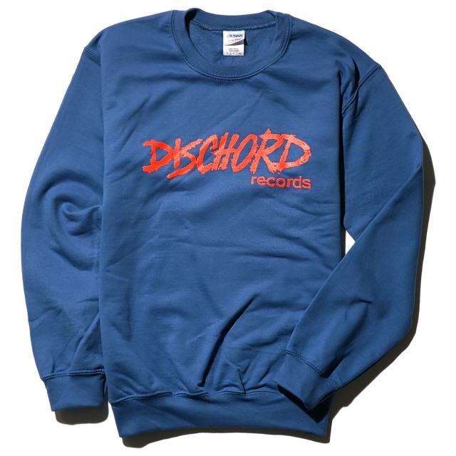 DISCHORD RECORDS スウェットシャツ/ Old Logo Crewneck - Indigo Blue/Red