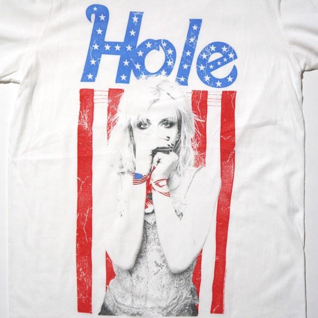 HOLE (ホール) Tシャツ Flag Photo-White