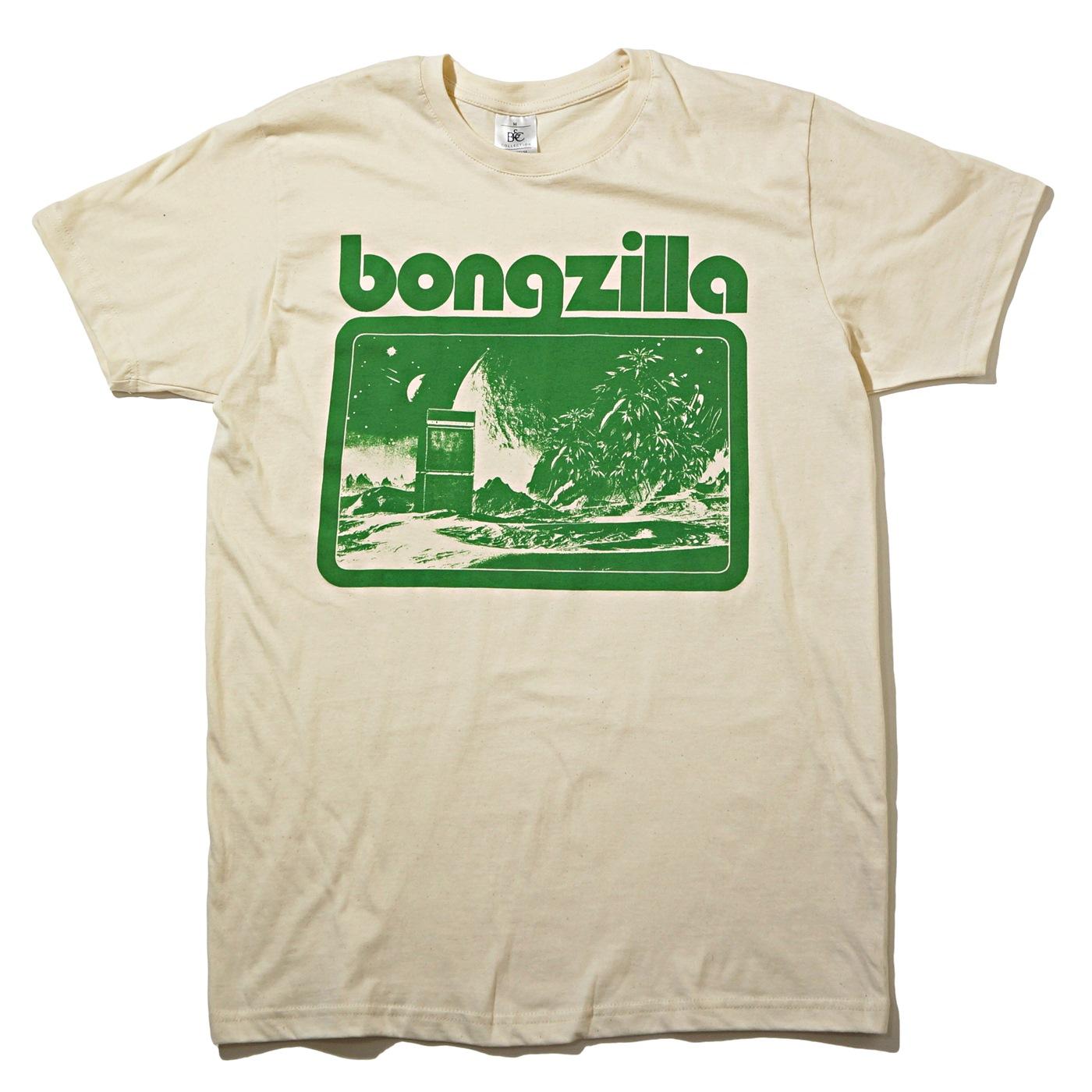 BONGZILLA Tシャツ Space Amp Weed-Natural/Green