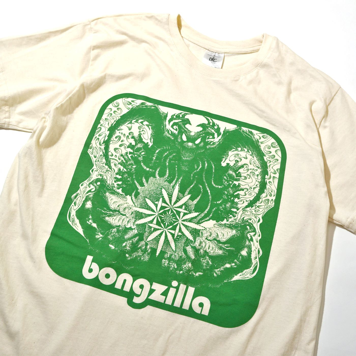 BONGZILLA Tシャツ Weedsconsin Cover-Natural/Green
