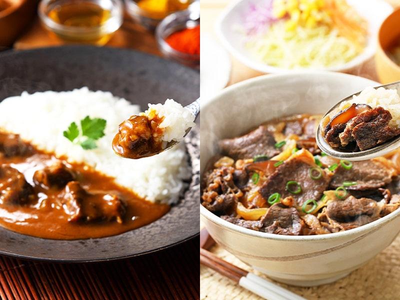 哲多すずらん食品加工 レンジ対応 牛丼&スパイスカレーセット 2種4食 常温便