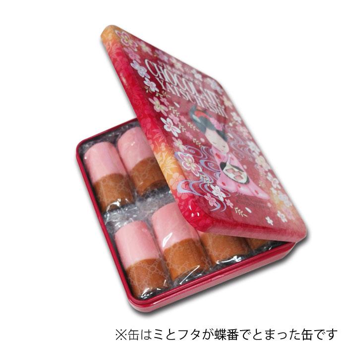 《クール冷蔵便》いちごチョコ八ッ橋 缶 8袋(16枚入)【おたべ】