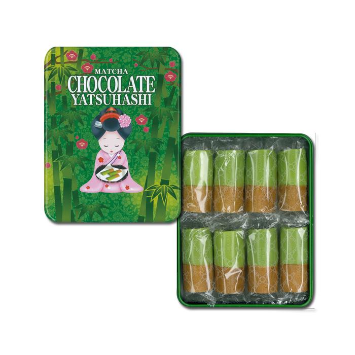 《クール冷蔵便》抹茶チョコ八ッ橋 缶 8袋(16枚入)【おたべ】