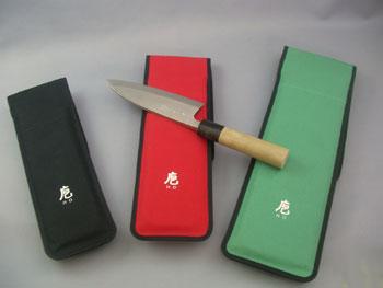 帆布製 包丁ケース 【D-M】 対応品165〜195mmの出刃、洋出刃、舟行(薄口出刃)、身卸し 専用木製サヤ付