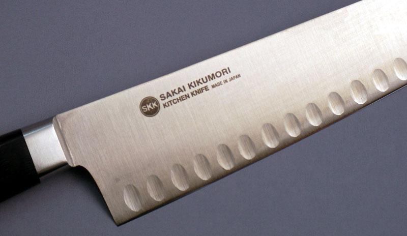 名入れ無料・本刃付け可 牛刀21cm 堺菊守 サーモン型(両面凹加工刃) MS-021 刃渡210mm