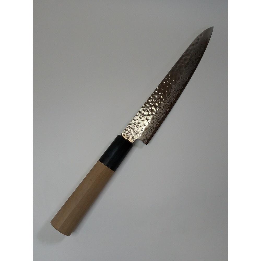 ペティナイフ15cm 堺金吉作 ダマスカス積層鍛造鋼 ツチ目 水牛柄 刃渡150mm