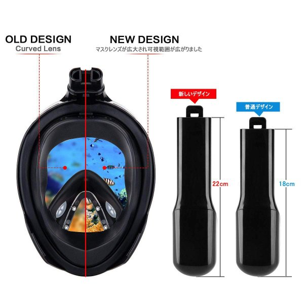 シュノーケルマスク ダイビングマスク 潜水マスク スポーツカメラ取付可能 ブルー