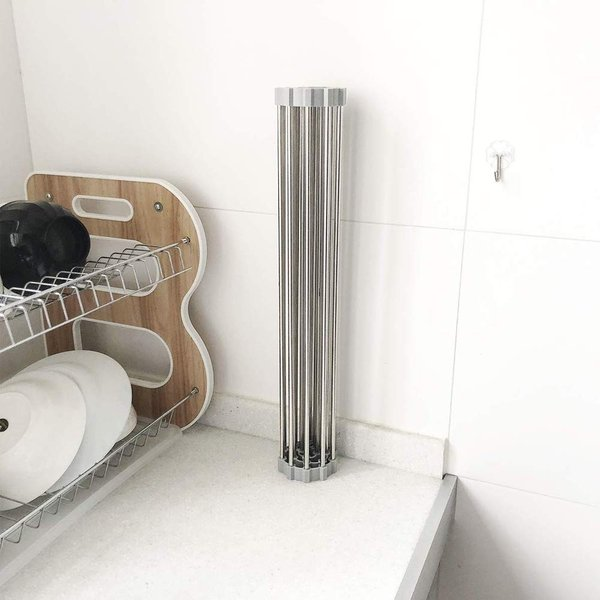 水切りラック 折りたたみ 食器水切り 304ステンレス製 抗菌 キッチン シンク 調理台 食器収納 18本レバー (37×35cm)…