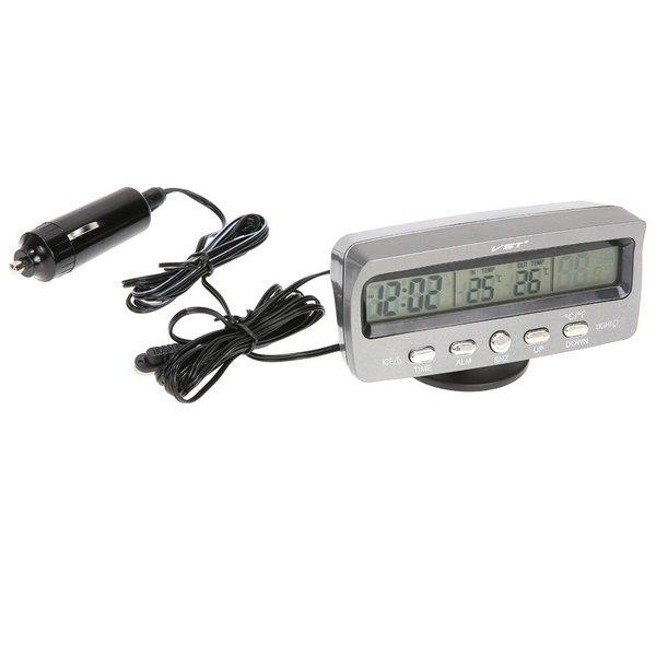 多機能 車載時計 時刻 日付 室内温度/外気温 電圧 LED表示モニター アラーム付き アラームクロック 多機能表 バックライト切替可能 12V/24V対応