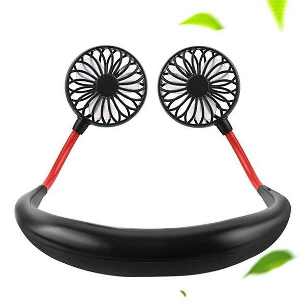 首かけ ハンズフリー ポータブル扇風機(黒)