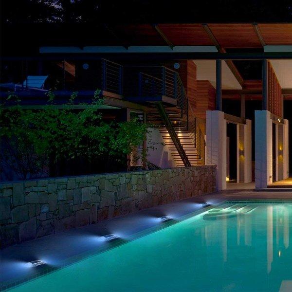 ガーデンライト 階段ライト 歩道ライト 夜間照明 道路ライト 道路鋲 防水 ソーラー充電 スイッチなし 照明 装飾(ブルー)