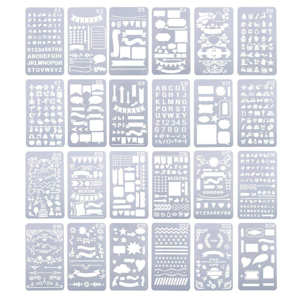 CCINEE 描画テンプレート スクラップブッキング テンプレート DIYアルバム 絵図 手帳用に 24枚セット