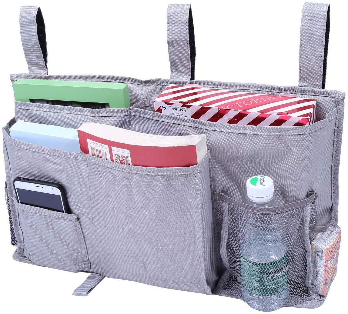 ポケットベッドサイド 8個ポケット デスクポケット TVリモート ? ヘッドボードに最適、ベッド寮レール、部屋、電話、タブレットアクセサリー用二段ベッド、アパート、バスルーム&旅行 グレー(50*30cm)