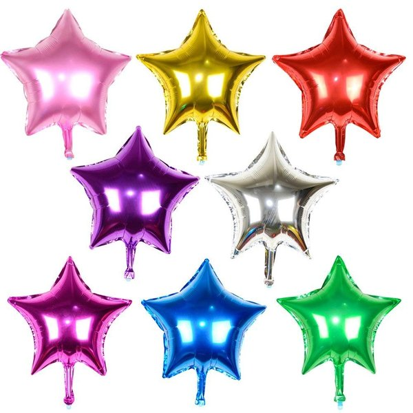 16個セット バルーン 星 風船 紐付き アルミバルーン 46cm 誕生日 パーティー (星型 8色 16個)