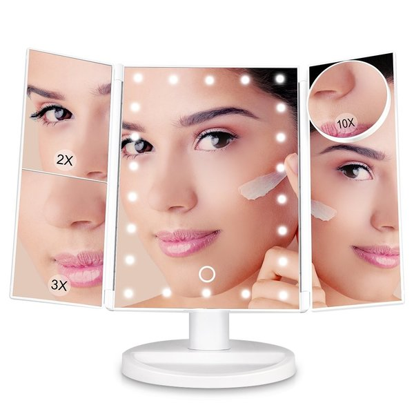 USB給電式 LED化粧鏡 化粧ミラー 鏡 三面鏡 女優ミラー 卓上鏡 折り畳み式 拡大鏡2倍&3倍&10倍 明るさ調節可能 180度回転 22LED付き 単四電池式/USB式給電