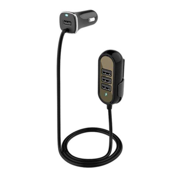 シガーソケット USB 延長ケーブル 後部座席 車載充電器 12V/24V 4USBポート 1.5m (黒)