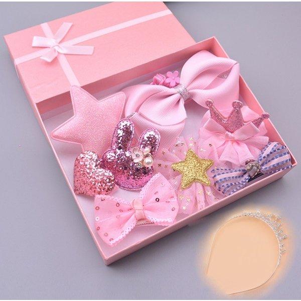 Li.Va. ヘアアクセサリー10点+ ティアラセット (ピンク) 可愛い ヘアアクセサリー 髪飾り キッズ アクセサリー 女の子