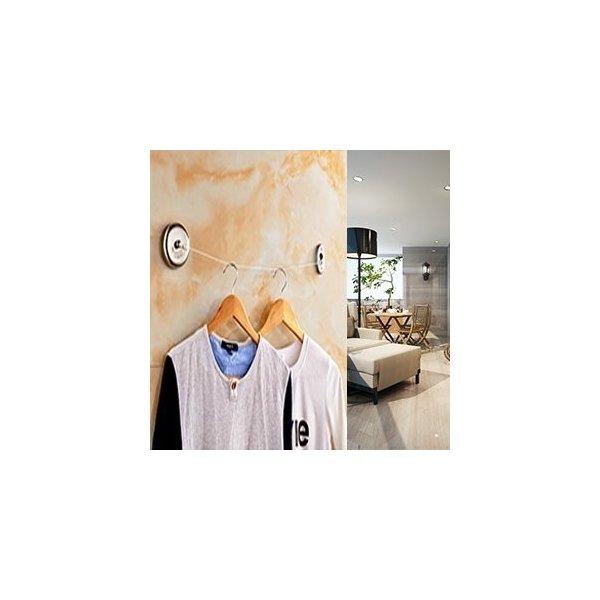 物干し 2.8m 洗濯ロープ ワイヤー 室内 部屋 自動 巻き取り 収納式 自由伸びる ロープ 304ステンレス製 海外 ホテル で おなじみ 壁掛けタイプ