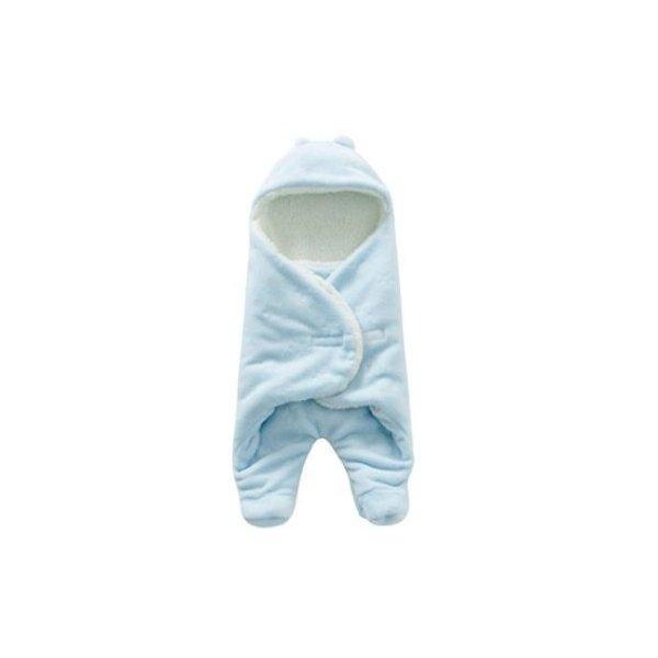 あったか ふわふわ ボア おくるみ 赤ちゃん 新生児 防寒 冬 (ブルー)