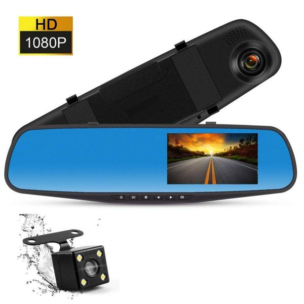 ドライブレコーダー 前後カメラ ミラーモニター HD1080P 4.3インチ 120度広角 Gセンサー搭載 車載カメラ 常時録画 高速起動 動体検知