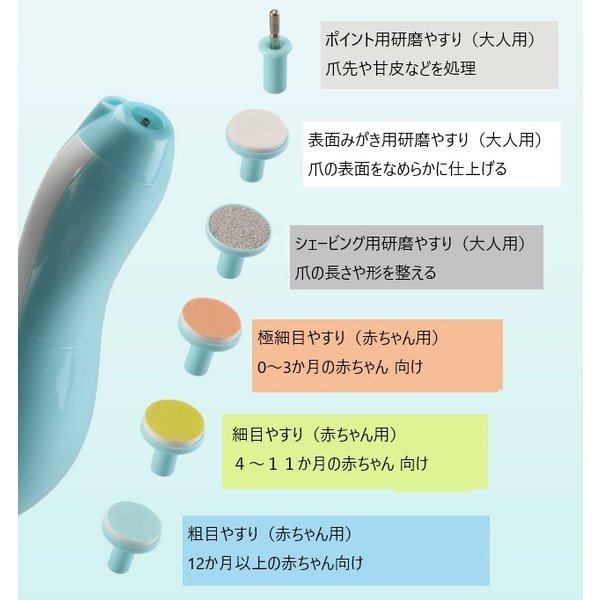 Li.Va. ベビーネイルケア LEDライト付き 電動つめやすり (ブルー)  電動ネイルケア お母さんも使える6種類の研磨ヘッド付き