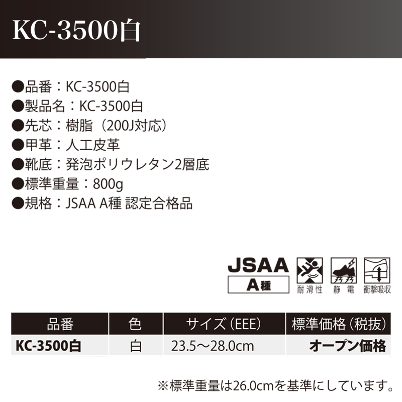 ノサックス 耐滑ウレタン2層底 制電安全靴 KC-3500白