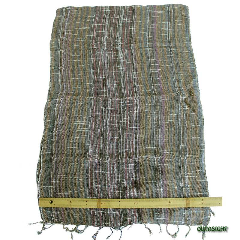 コットンスカーフ 手紡ぎ 手織 経緯絣(たてよこがすり)入縞 タイ TNTS-38