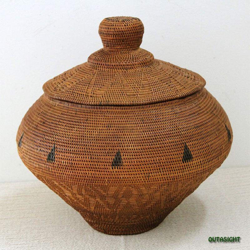 アタバスケット 丸壺形蓋付き バリ島 INNB-16