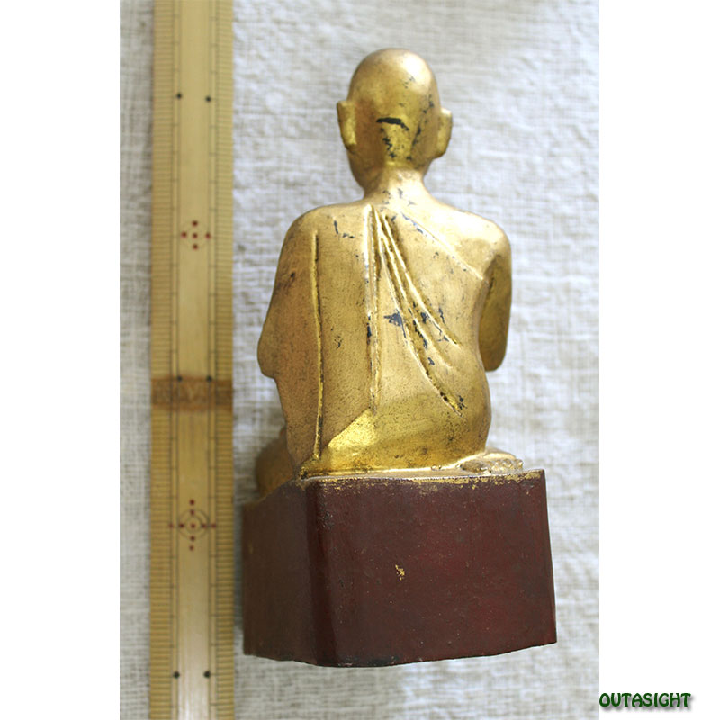 木彫り像 僧侶 漆塗り 金塗り ミャンマー TAS-13