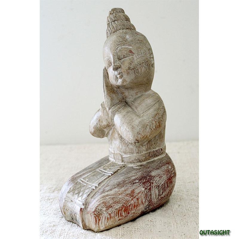 木彫り像 山岳部族の娘 タイ TNS-01