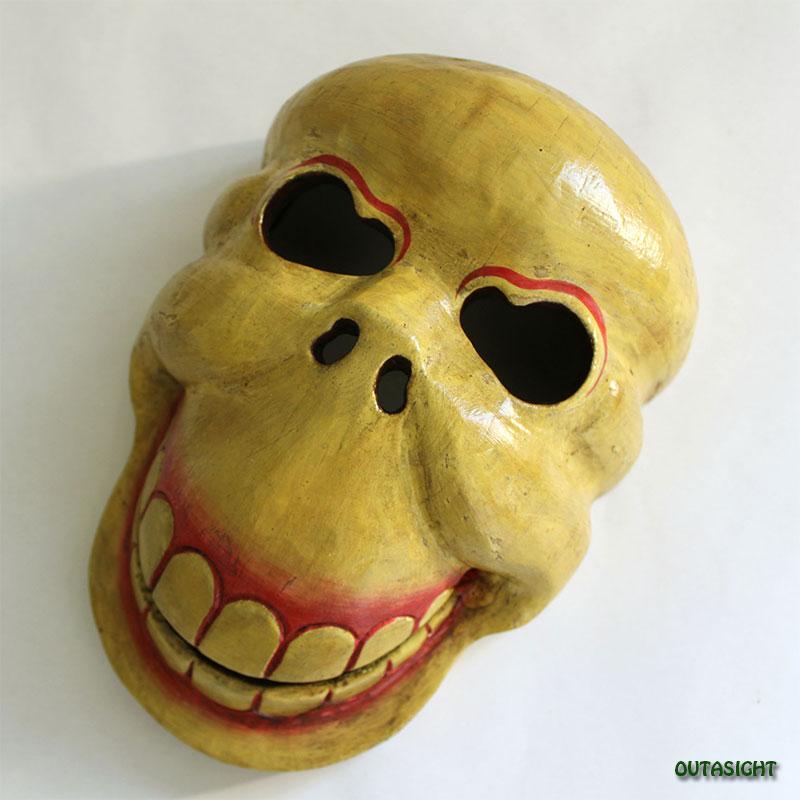 木彫マスク(お面) スカル ネパール NNM-04