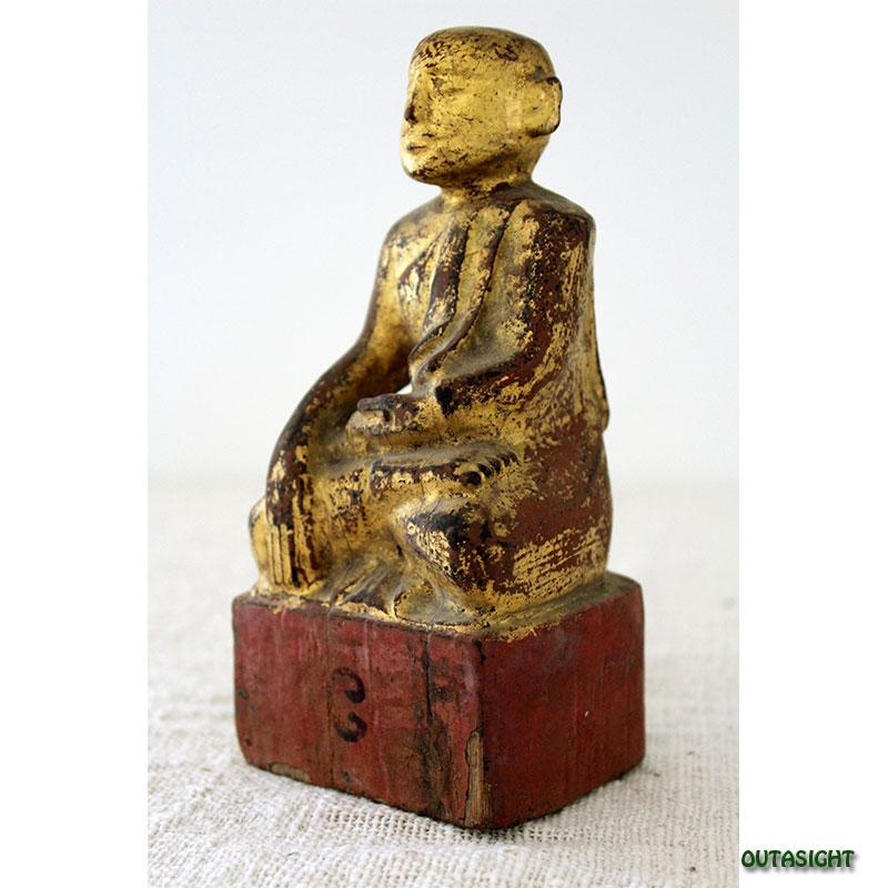 木彫り像 僧侶 漆塗り 金塗り アンティーク ミャンマー TAS-03