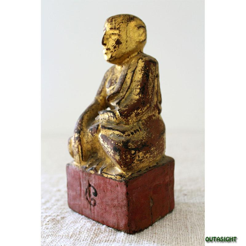 木彫り像 僧侶 漆塗り 金塗り アンティーク ミャンマー TAS-04