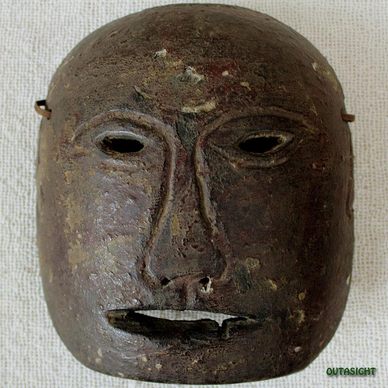 木彫りマスク(お面) アンティーク ネパール NAM-18