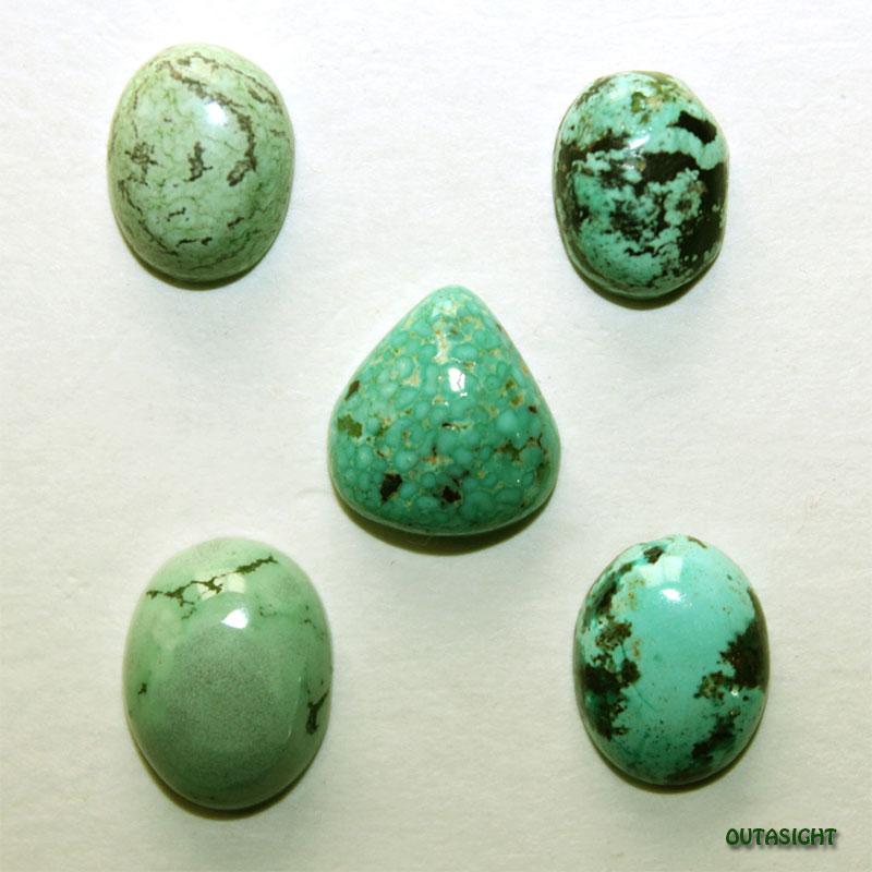 チベタンターコイズ ルース 天然石 5個一組 IST-223